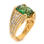 green tourmaline and yellow gold ring by alishan